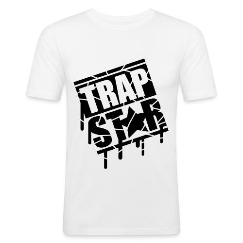 White Trap Star Premium T-Shirt Mens Medium  - Men's Slim Fit T-Shirt