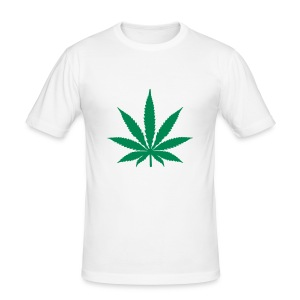 Men's Slim Fit T-Shirt - cannabis,mens t shirt,t shirt,weed,white weed t shirt