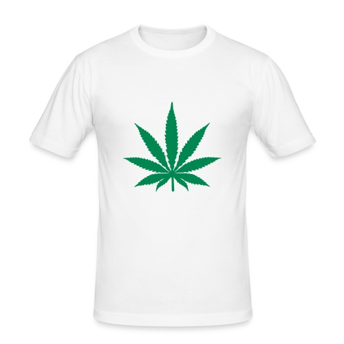 Men's Slim Fit T-Shirt - white weed t shirt,weed,t shirt,mens t shirt,cannabis