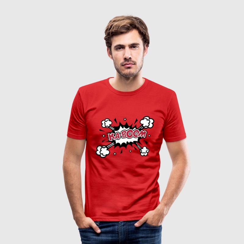 KABOOM, comic speech bubble, cartoon, word balloon Camisetas - Camiseta ajustada hombre