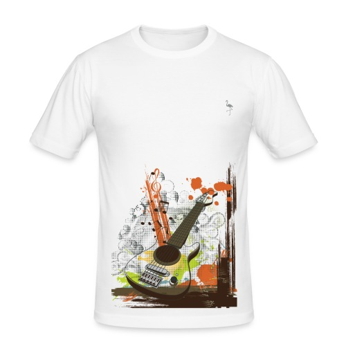 Webbs white Guitar tee - Men's Slim Fit T-Shirt