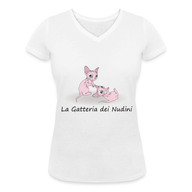allevamento La Gatteria dei Nudini - T-shirt ecologica da donna con scollo a V di Stanley & Stella