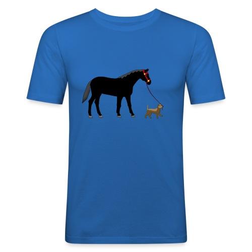 caballo y perro - Camiseta ajustada hombre