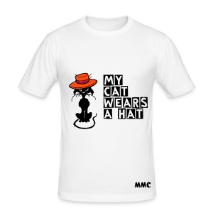 Cat With A Hat - Men's Slim Fit T-Shirt