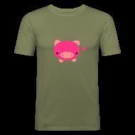 T-Shirts ~ Men's Slim Fit T-Shirt ~ Piggie T-Shirt Brown