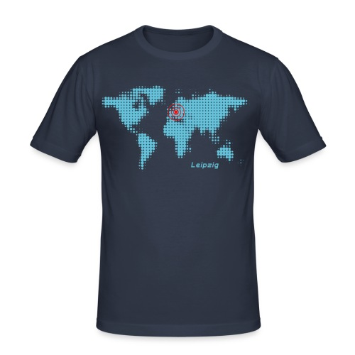 Leipzig Weltkarte T-Shirt - Männer Slim Fit T-Shirt