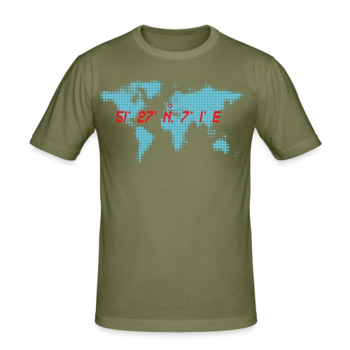Essen Koordinaten Weltkarte T-Shirt - Männer Slim Fit T-Shirt