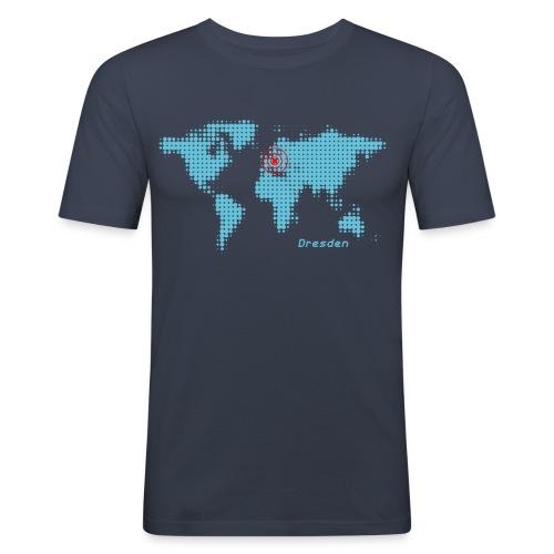 Dresden Weltkarte T-Shirt - Männer Slim Fit T-Shirt