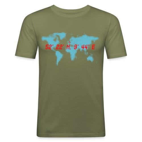 Hannover Koordinaten Weltkarte T-Shirt - Männer Slim Fit T-Shirt