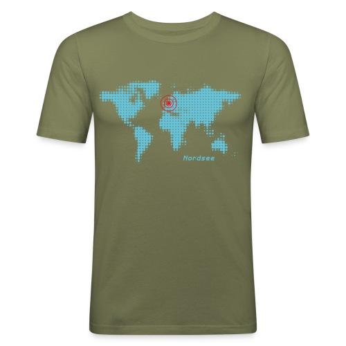 Nordsee Weltkarte T-Shirt - Männer Slim Fit T-Shirt