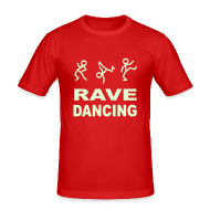 T-Shirts ~ Men's Slim Fit T-Shirt ~ Raving Dancing Stick Men. Glow in the dark print