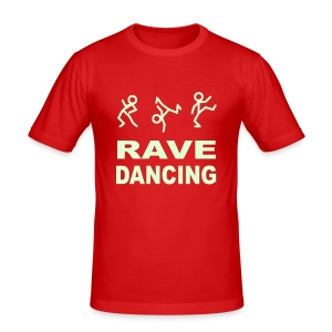 Raving Dancing Stick Men. Glow in the dark print - Men's Slim Fit T-Shirt