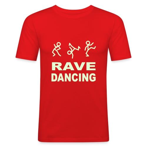 Raving Dancing Stick Men. Glow in the dark print - Men's Slim Fit T-Shirt
