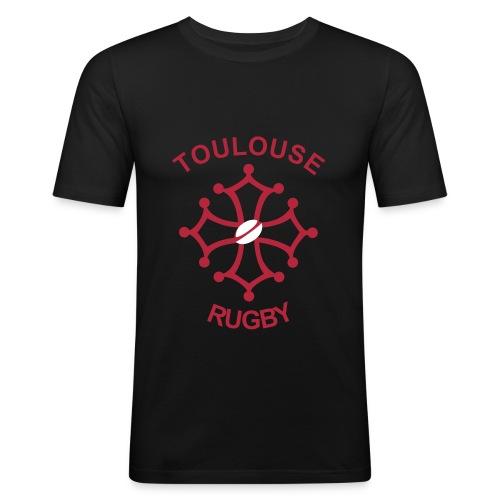 T-shirt noir Toulouse Rugby - T-shirt près du corps Homme