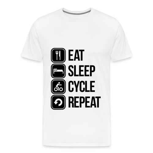 Eat Sleep Cycle Repeat Black/White T Shirt - Men's Premium T-Shirt