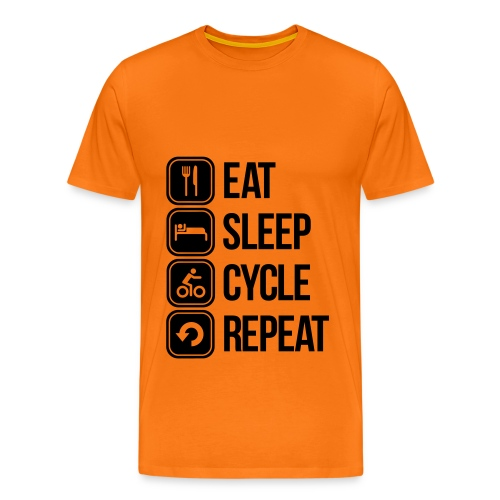 Eat Sleep Cycle Repeat Orange/Black T Shirt - Men's Premium T-Shirt