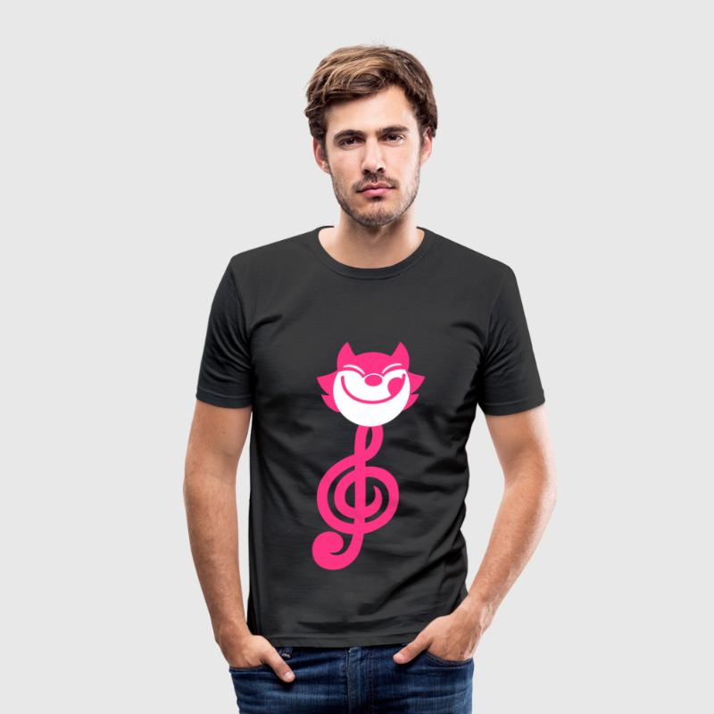 Clé de Sol en forme de chat cartoon par Cheerful Madness!! Tee shirts - Tee shirt près du corps Homme