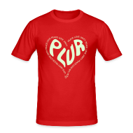 T-Shirts ~ Men's Slim Fit T-Shirt ~ PLUR, Peace Love unity and respect raver mantra in a love heart