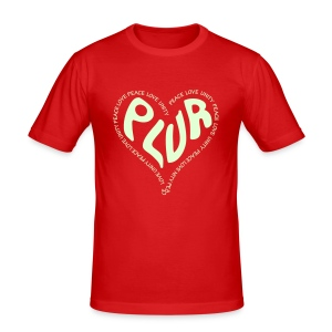 PLUR, Peace Love unity and respect raver mantra in a love heart - Men's Slim Fit T-Shirt