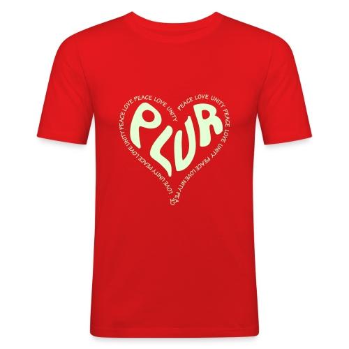 PLUR Heart design Glow n the dark - Men's Slim Fit T-Shirt