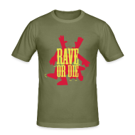 T-Shirts ~ Men's Slim Fit T-Shirt ~ Rave or Die t-shirt with the Fantazia Dancing man