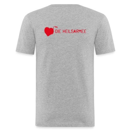Liebe ist unsere stärkste Waffe: Spray - mit Rückendruck (rot) - Männer Slim Fit T-Shirt
