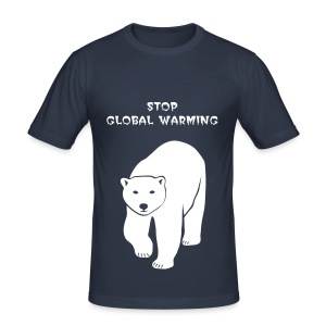 tier t-shirt eisbär polar bear ice knut klimawandel eis nordpol bär stop global warming CO2 - Männer Slim Fit T-Shirt