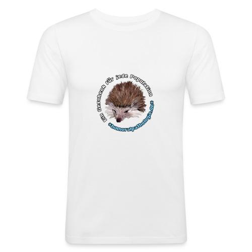 Weißes Shirt mit blauer Schrift (slim) - Männer Slim Fit T-Shirt