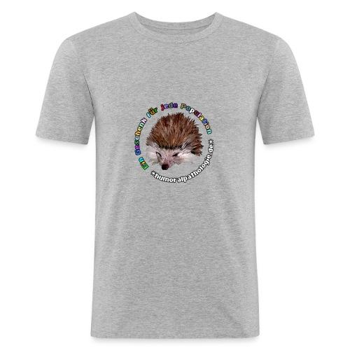 Graues Shirt mit bunter Schrift (slim) - Männer Slim Fit T-Shirt
