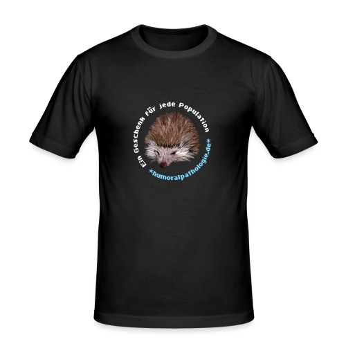 Schwarzes Shirt mit blauer Schrift (slim) - Männer Slim Fit T-Shirt