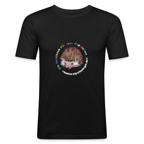 Schwarzes Shirt mit bunter Schrift (slim) - Männer Slim Fit T-Shirt
