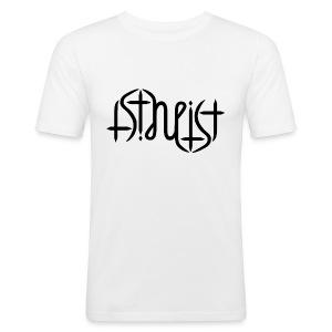 Men's Slim Fit T-Shirt - science,religion,gott,god,faith,ambigram,Wissenschaft,Glaube,Evolution,Darwin,Big Bang Theory,Atheist,Atheismus,Atheism