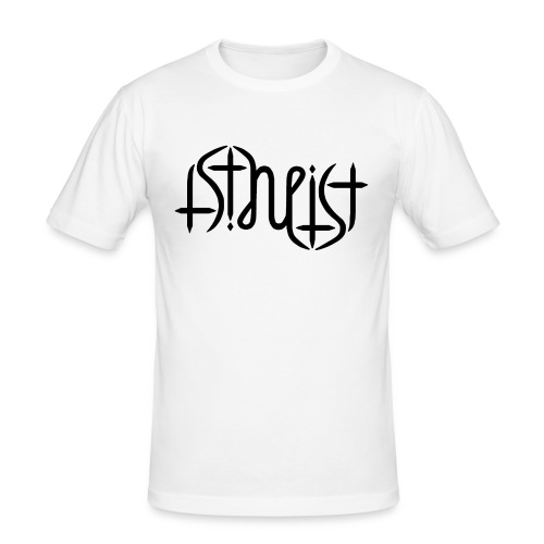 Men's Slim Fit T-Shirt - science,religion,gott,god,faith,ambigram,Wissenschaft,Glaube,Evolution,Darwin,Big Bang Theory,Atheist,Atheismus,Atheism