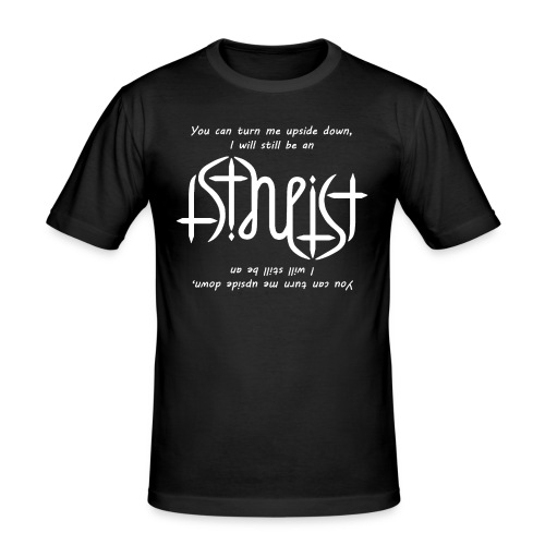 Men's Slim Fit T-Shirt - Atheism,Atheismus,Atheist,Big Bang Theory,Darwin,Evolution,Glaube,Wissenschaft,ambigram,faith,god,gott,religion,science