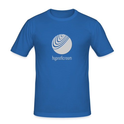 Hypnotic Room - Light Grey logo on Blue - Men's Slim Fit T-Shirt