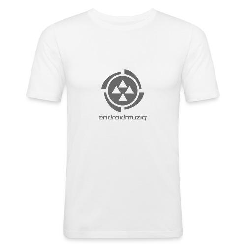 Android Muziq - Dark Grey logo on White - Men's Slim Fit T-Shirt