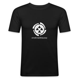Android Muziq - Light Grey logo on Black - Men's Slim Fit T-Shirt