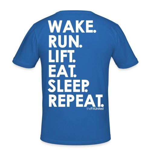 wake. run. lift. eat. sleep. repeat. - White - Men's Slim Fit T-Shirt
