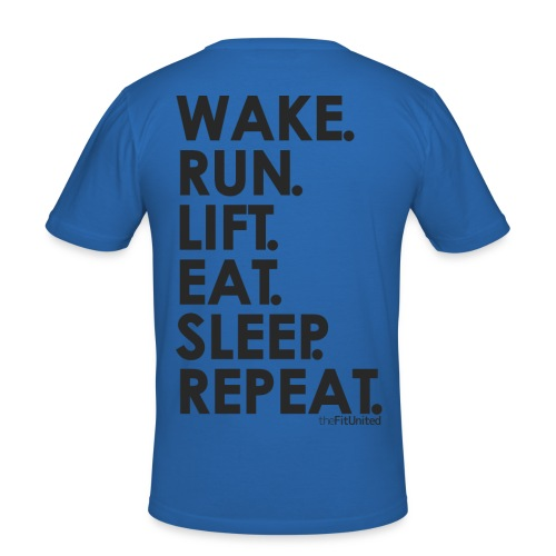wake. run. lift. eat. sleep. repeat. - black - Men's Slim Fit T-Shirt