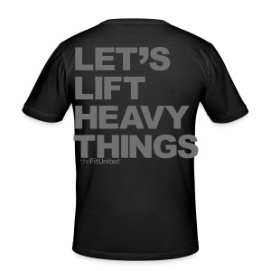 Lets Lift Heavy Things - Grey - Men's Slim Fit T-Shirt