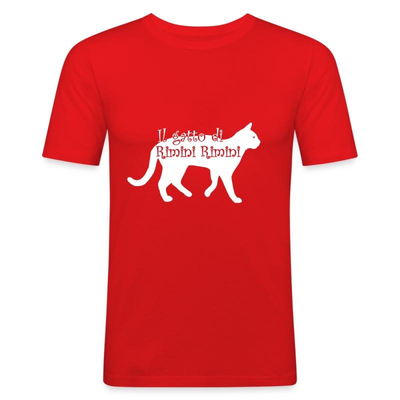 Il gatto di Rimini Rimini (SCRITTA BIANCA - MAGLIETTA TUTTI I COLORI) - Maglietta aderente da uomo