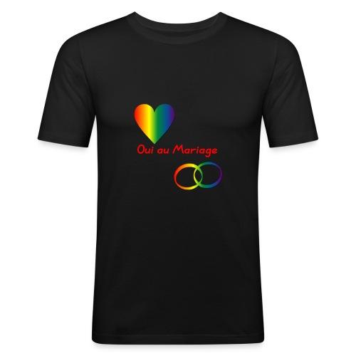 Tee-shirt homme oui au mariage gay avec coeur et anneaux - T-shirt près du corps Homme