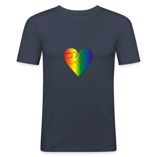 Tee-shirt homme coeur couleur gay - T-shirt près du corps Homme