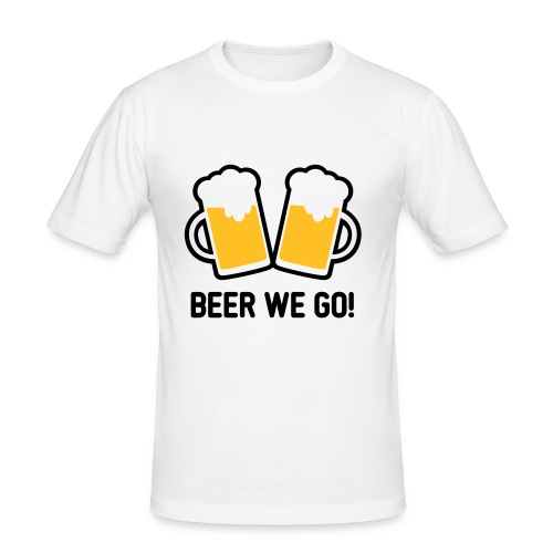 Beer we go T Shirt - weiß - Männer Slim Fit T-Shirt