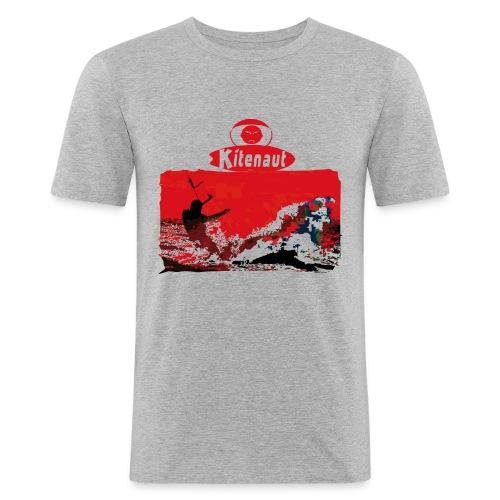 T-shirt homme vague rouge - T-shirt près du corps Homme