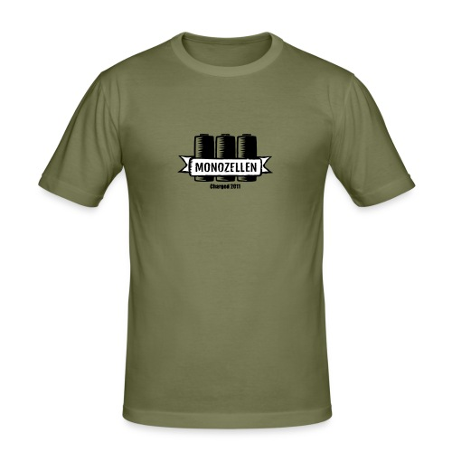 Monozellen Men's T-Shirt, Olive - Männer Slim Fit T-Shirt