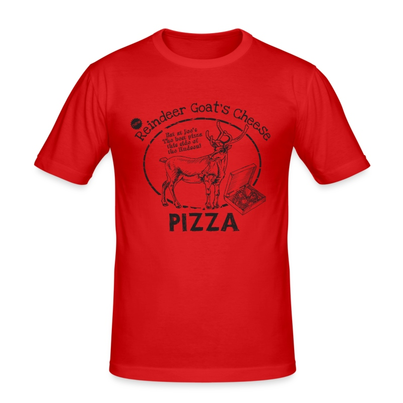 Reindeer Goat's Cheese Pizza (inspired by Bruce Willis) - Men's Slim Fit T-Shirt