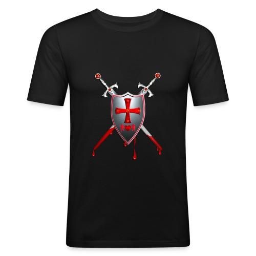 Schild mit Schwertern - Männer Slim Fit T-Shirt