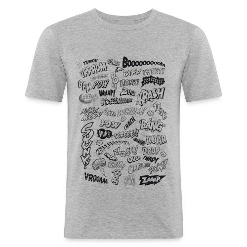 Comic Book Action Words - T-shirt près du corps Homme