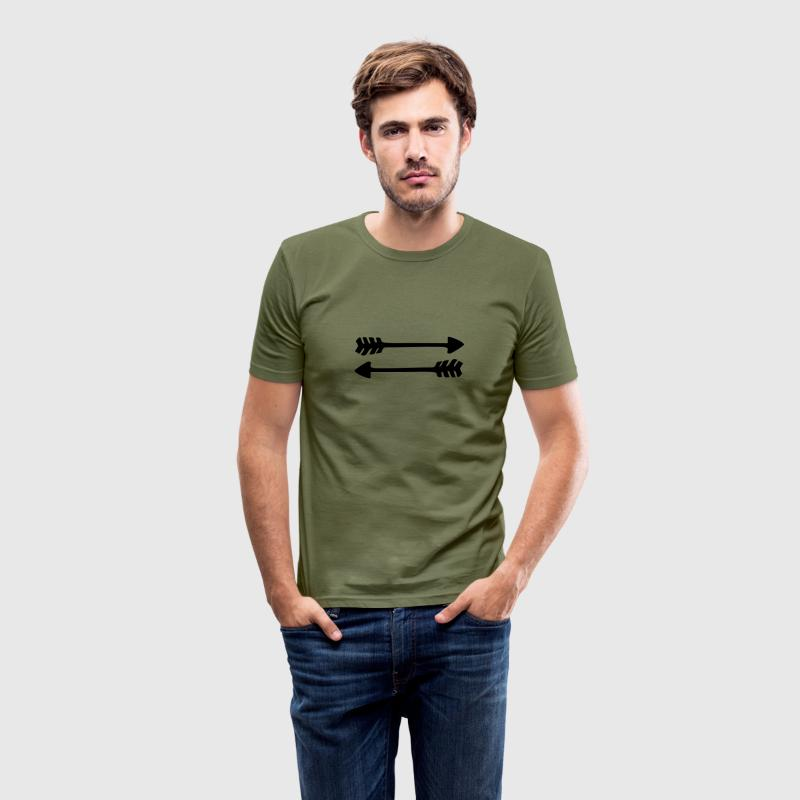 2 arrows, 2 directions, Native Indian War symbol  T-shirts - slim fit T-shirt